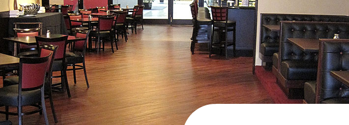 Vinyl Plank looks like wood in this fine dinning resturant