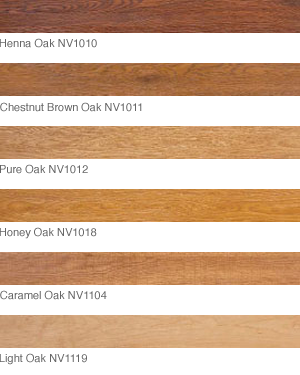 Luxury Vinyl Planks shown in Henna Oak, Chestnut Brown Oak, Pure Oak, Honey Oak, Carmel Oak, Light Oak