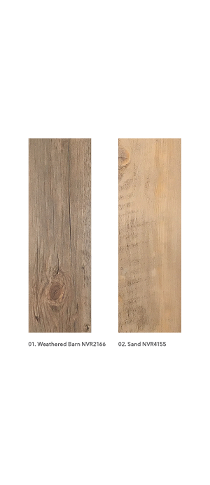 6 x 36 Luxury Vinyl Planks styles include Sand, Ash, Buff, Driftwood, Dark Chestnut, Weathered Barn, Rustic Oak and Mountain Cabin