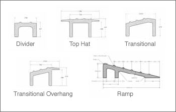 Aluminum grid transitions available are divider, tophat, transitional, transitional overhang and ramp